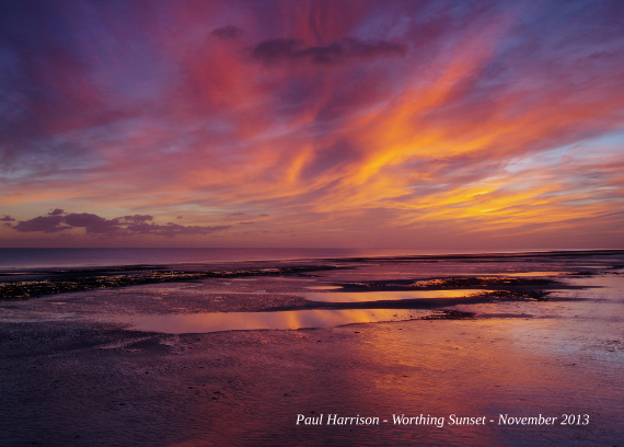 Sunset at Worthing by Paul Harrison