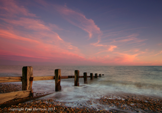 Pevensey Bay at sunset