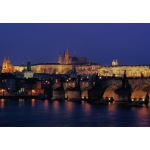 Charles Bridge and Prague castle, evening